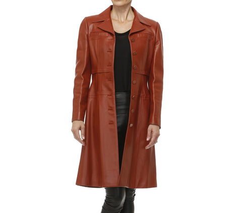 Chanel Fitted Cognac Leather Coat