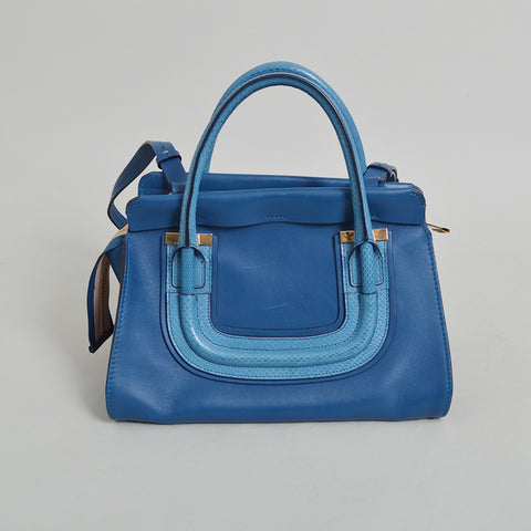 Chloe Blue Leather & Snakeskin Everston Satchel Handbag