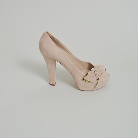 Louis Vuitton Taupe Suede Platforms with Bow