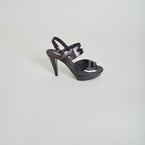 Yves Saint Laurent Black Leather Platform Sandals