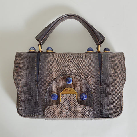 Fendi Secret Code 8BN199 Lizard Shoulder Bag