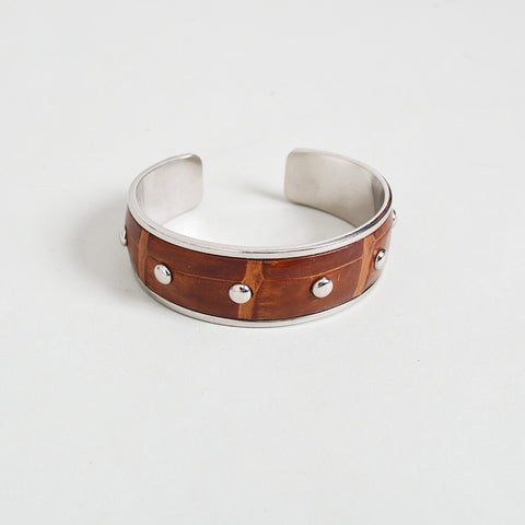 Tod's Brown Embossed Leather Cuff with Studs