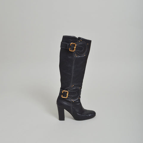 Chloe Black Pebbled Leather Boots with Buckles