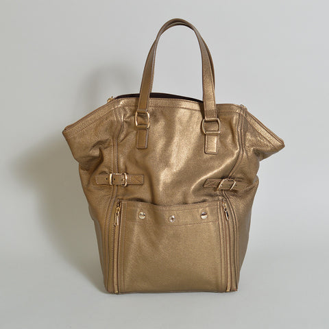 YSL, Yves Saint Laurent Metallic Downtown Tote Bag