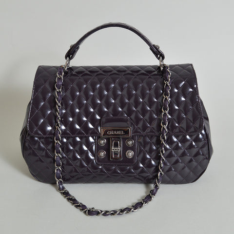"Chanel Purple Quilted Bowler Shoulder Bag in ""Petite"" Matelasse"