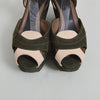 Marni Olive and Nude Platform Wedge Sandal