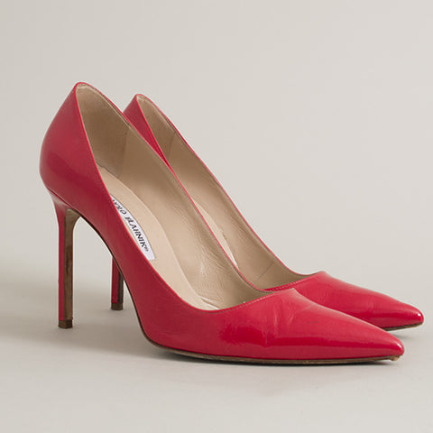 Manolo Blahnik Orange/Red Patent Leather Pumps