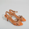 Prada Brown and Orange Woven Slingback Sandals