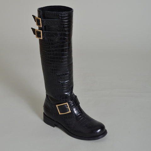 Jimmy Choo Croc-Effect Knee High Motorcycle Boots