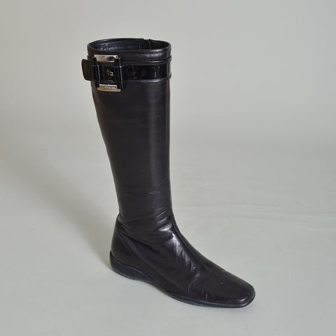 Prada Sport Black Leather Knee-High Boots