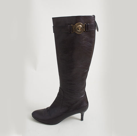 Burberry Brown Leather Knee High Boots