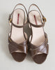 Prada Sport Brown Leather Espadrille Cork Wedge Sandals