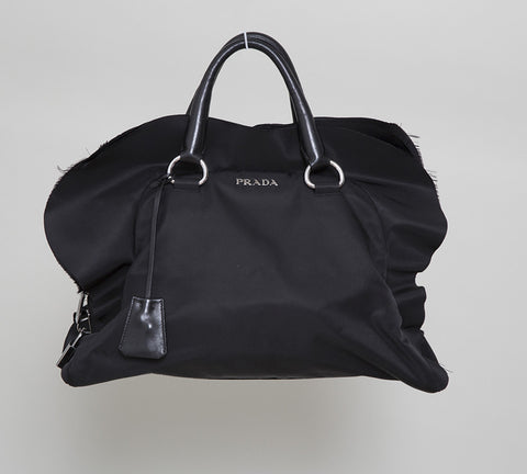Prada Black Tessuto Nylon Ruffle Satchel Bag
