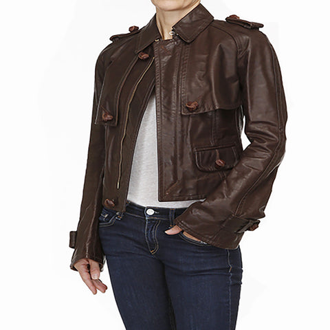 DSQUARED2 Short Brown Leather Jacket