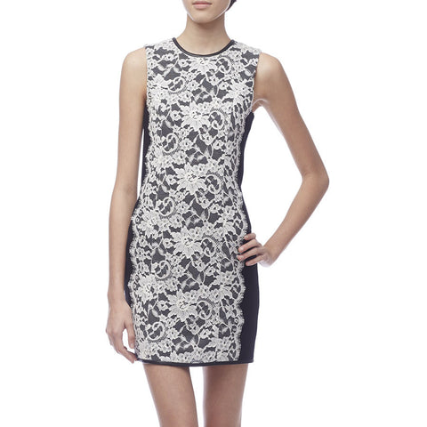 Erdem Black Sleeveless Dress with White Lace Front