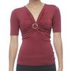 Gucci Burgundy V-Neck Knit Top