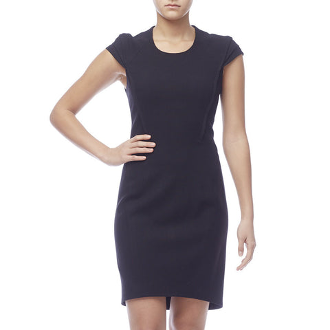 Helmut Lang Black Cap Sleeve Sheath Dress with Shoulder Detail