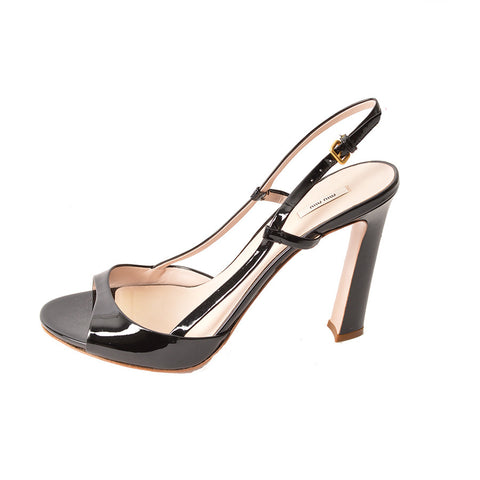 Miu Miu NEW Black Patent Slingback Sandals