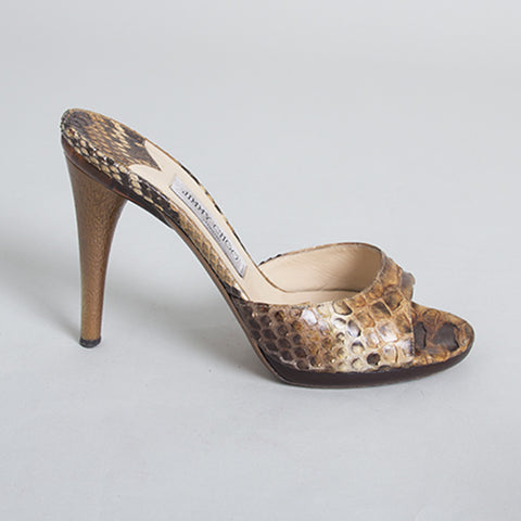 Jimmy Choo Brown Snakeskin Slide Sandals