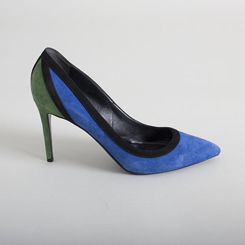 Gucci Blue & Green Suede Pointed-Toe Pumps