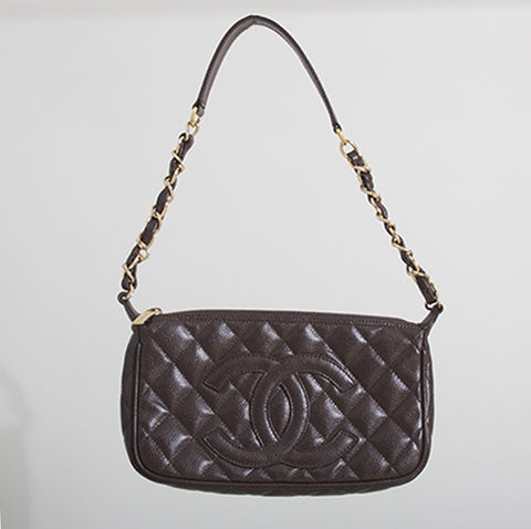 Chanel Brown Caviar Quilted Leather Shoulder Bag
