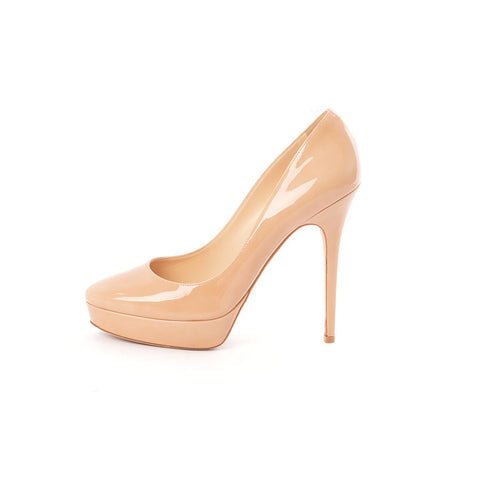 70a1cdc53 Jimmy Choo Cosmic Platform Nude Patent Leather Stilettos – SuiteAdore