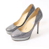 Jimmy Choo Anthracite Metallic Glitter Platform Pumps