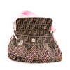 Fendi Zucca Print Shoulder Bag with Topstitch Detail
