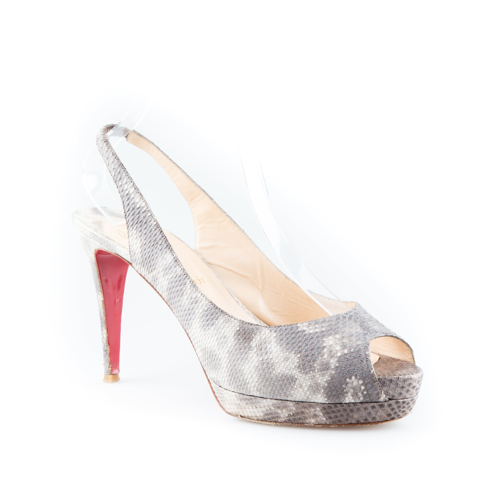 buy online ad0b1 a7b0f Christian Louboutin Snakeskin Embossed Leather Slingback Sandals