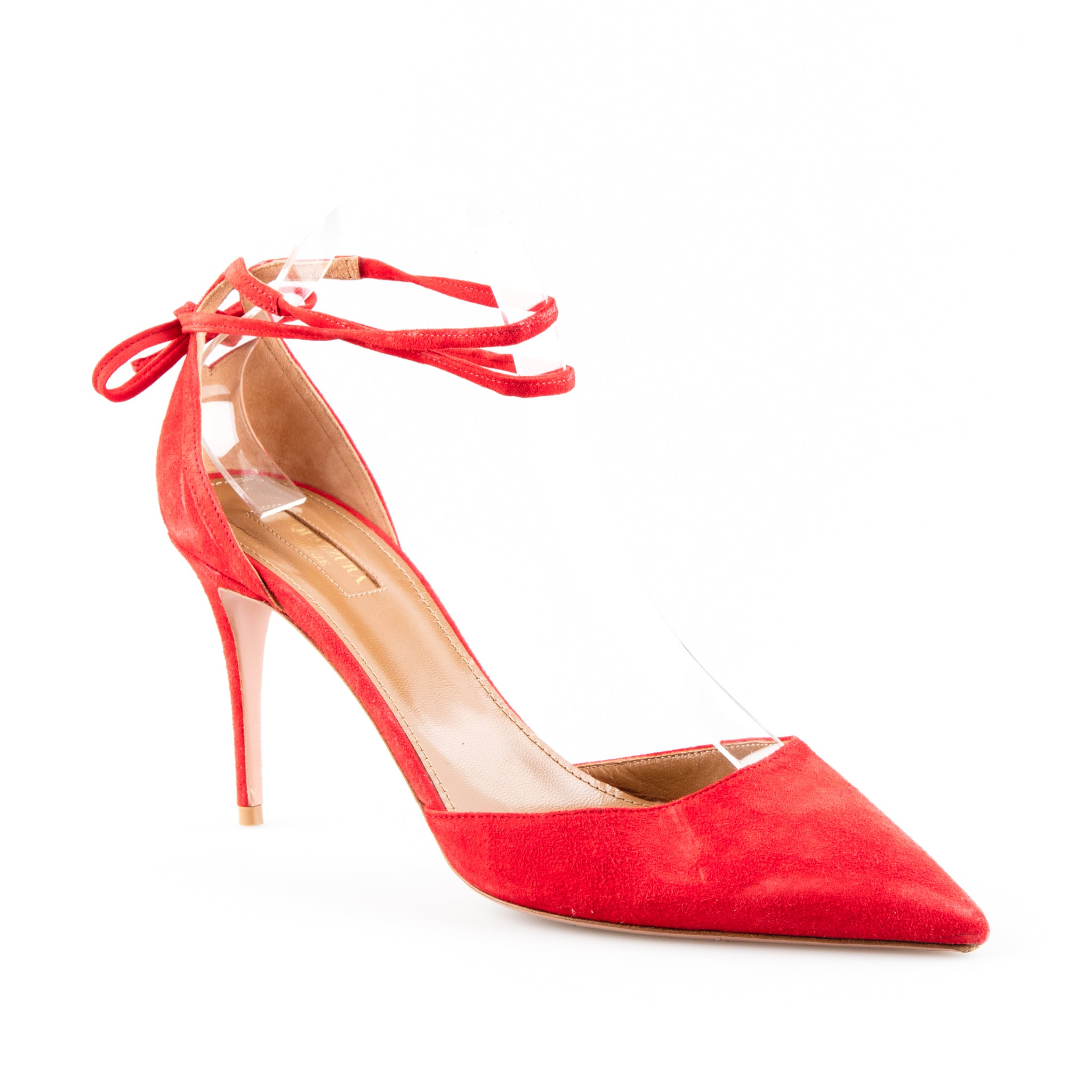 b387066d4a Aquazzura Suede 'Heart Breaker' Pointed Toe Pumps with Tie Up Ankle ...