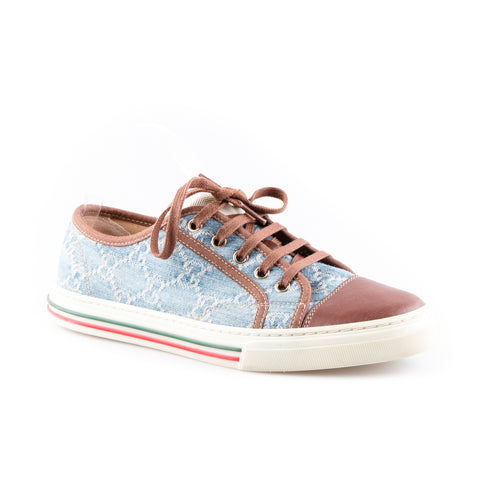 Gucci Monogrammed Denim Low Top Sneakers