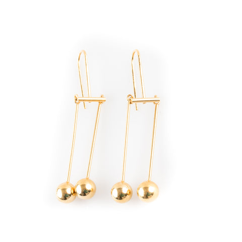 Céline Gold Drop Earrings with Ball