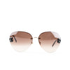 Chanel Gold Tone Aviator Sunglasses with Floral Charm