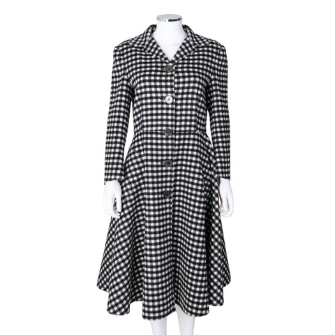 Prada Checkered Wool Mid Length Single Breasted Coat