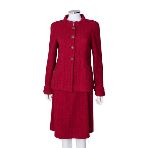 Chanel Red Tweed Button Jacket and Skirt Set