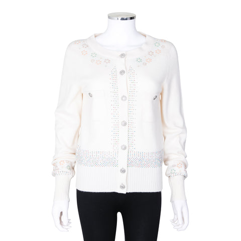 Chanel Long Sleeve Knit Cardigan with Multi-colour Beaded Embellishment