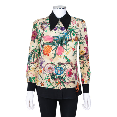 Gucci Floral and Snake Print Silk Blouse
