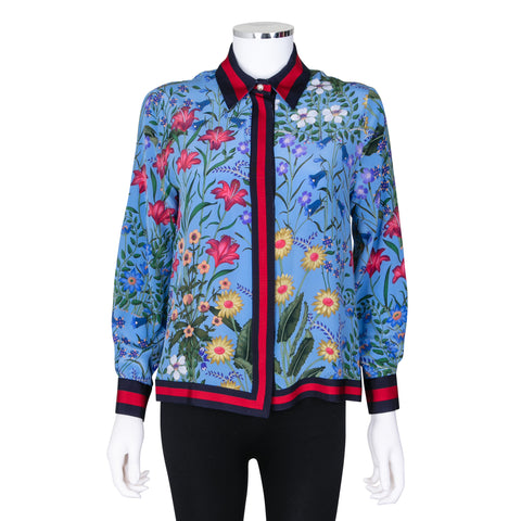 Gucci New Flora Print Silk Blouse