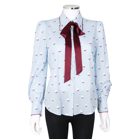 Marc Jacobs Floral Embroidered Long Sleeve Button Up Shirt