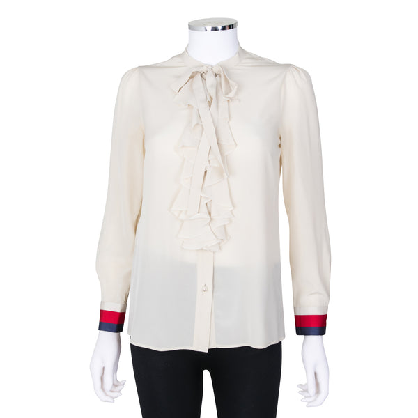 6fb5b74f0ccd8d Gucci Ivory Silk Blouse with Ruffle and Faux Pearl Detail – SuiteAdore
