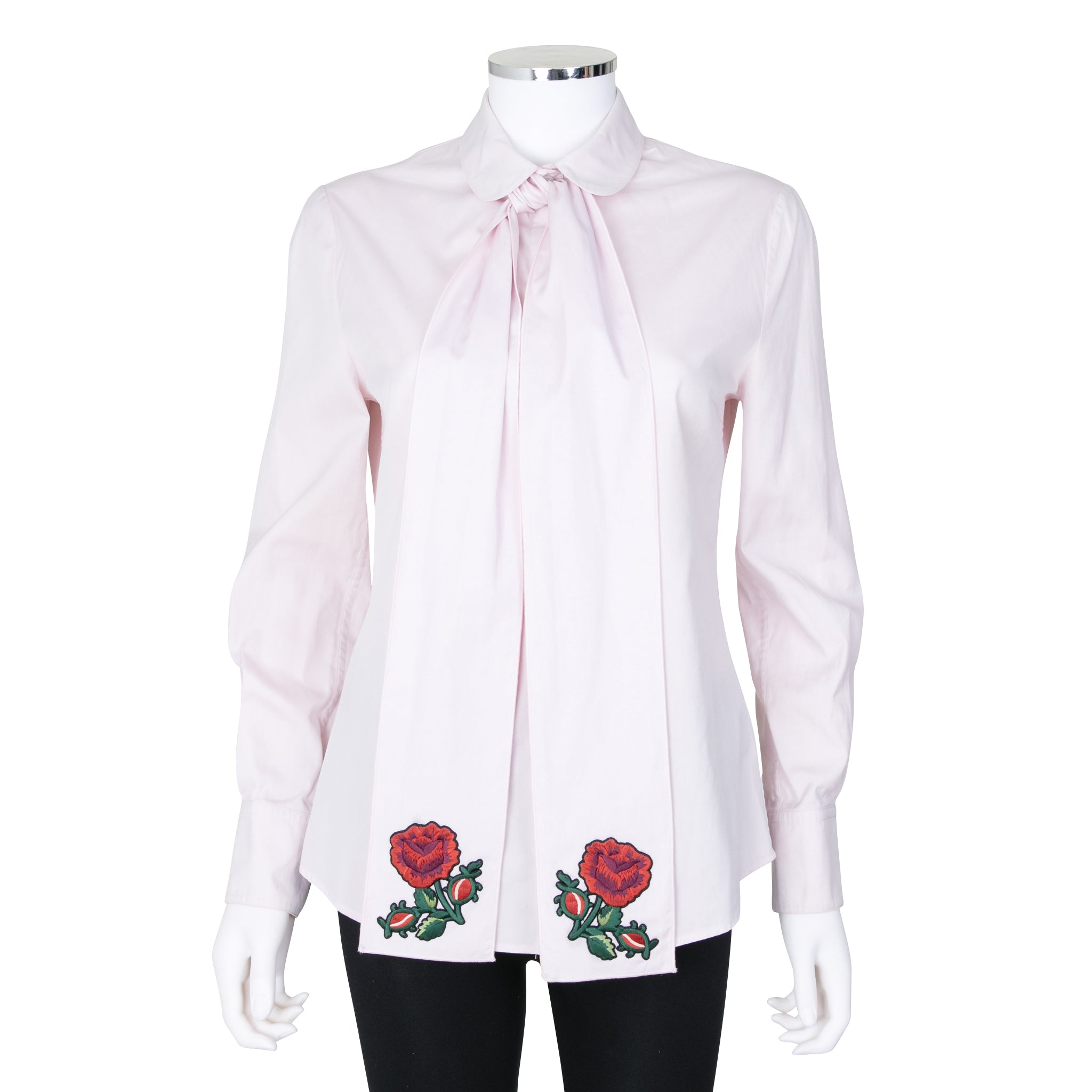 1bc762ac8a5b73 Gucci Long Pale Pink Blouse with Bow – SuiteAdore