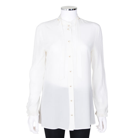Gucci Silk Blouse with Bow and Faux Pearl Detail