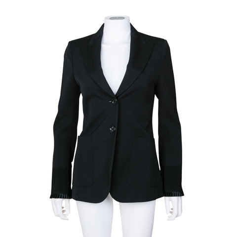 Gucci Single Breasted Blazer Jacket with Satin Pleat Detail