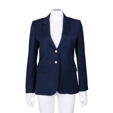 Gucci Single Breasted Blazer Jacket with Faux Pearl Detail