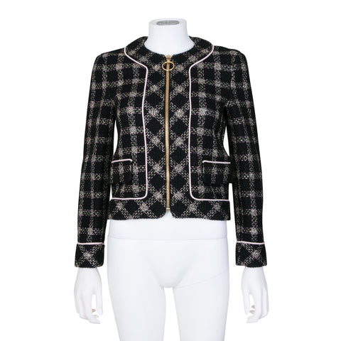 Gucci Metallic Tweed Zip Up Jacket