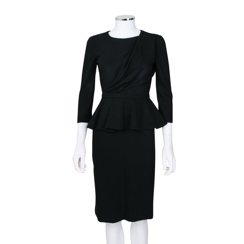 Gucci Long Sleeve Knee Length Dress with Peplum Detail