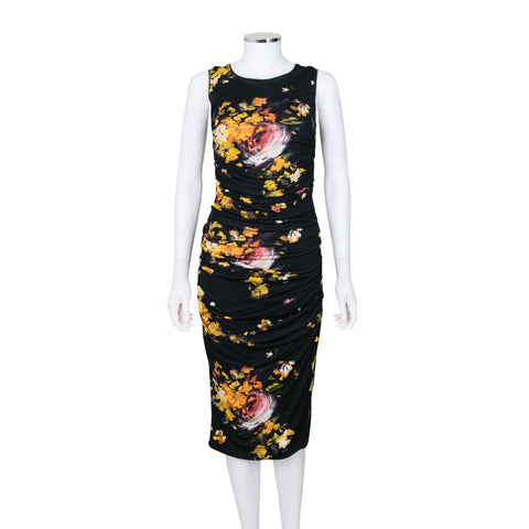Dolce & Gabbana Floral Printed Sleeveless Dress with Ruch Detail