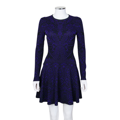 Alexander McQueen Long Sleeve Floral Print Knit Dress