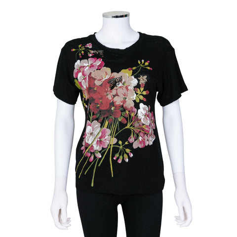 Gucci Short Sleeve Shirt with Floral Print and Jewelled Embellished Bees