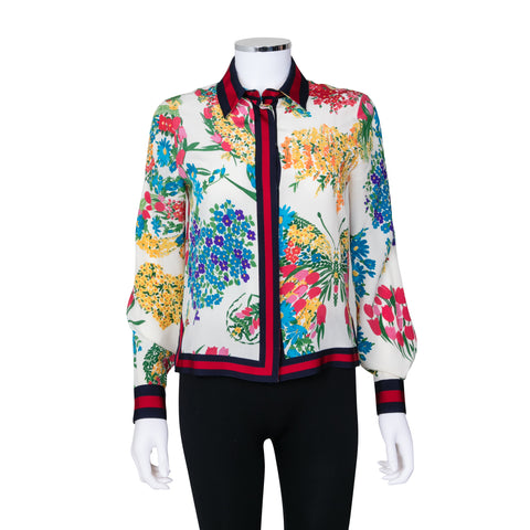 Gucci Floral Print Button Up Long Sleeve Blouse